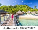 overwater bungalow hotel resort ... | Shutterstock . vector #1395998027