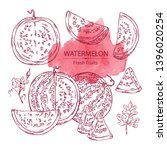 collection of watermelon and... | Shutterstock .eps vector #1396020254