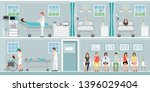 patients and doctor in hospital ... | Shutterstock .eps vector #1396029404