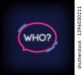who neon text vector with a... | Shutterstock .eps vector #1396030211