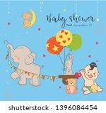 baby shower invitation template ... | Shutterstock .eps vector #1396084454