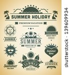 retro summer labels and signs.... | Shutterstock .eps vector #139609934