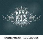 vector vintage sale best price... | Shutterstock .eps vector #139609955