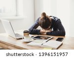 overworked tired business woman.... | Shutterstock . vector #1396151957