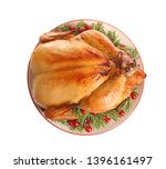 platter of cooked turkey with...   Shutterstock . vector #1396161497