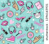 fashion patch badges with pink... | Shutterstock .eps vector #1396165931