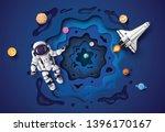astronaut floating in the... | Shutterstock .eps vector #1396170167