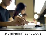 students doing homework and... | Shutterstock . vector #139617071