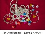 top view of pearl necklaces and ... | Shutterstock . vector #1396177904