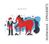 horseback riding flat hand... | Shutterstock .eps vector #1396183871