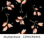 Stock photo floral seamless pattern in sketched outline style flowers hand drawn background for fabric print 1396196441