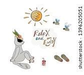 sunbathing cat glossy color...   Shutterstock .eps vector #1396205051