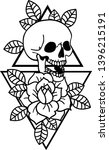 rose tattoo and skull with... | Shutterstock .eps vector #1396215191