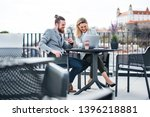 two young business people with... | Shutterstock . vector #1396218881