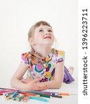 smiling little girl thinking... | Shutterstock . vector #1396223711
