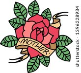 old school rose tattoo with... | Shutterstock .eps vector #1396228934