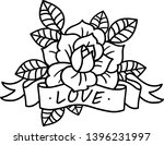 old school rose tattoo with... | Shutterstock .eps vector #1396231997