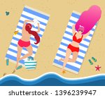 young girls in red sexy... | Shutterstock .eps vector #1396239947