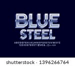 vector 3d blue steel font. set... | Shutterstock .eps vector #1396266764