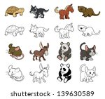 A set of cartoon animal illustrations. Color and black an white outline versions.