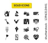 valentine icons set with open...
