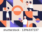 group of people arranging... | Shutterstock .eps vector #1396337237