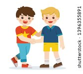 happy boys standing and shaking ... | Shutterstock .eps vector #1396355891
