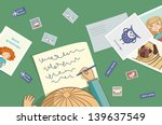 blonde girl writes a letter... | Shutterstock .eps vector #139637549