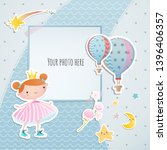 Stock vector baby girl shower card little princess arrival card with place for your photo 1396406357