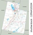 high detailed utah road map...   Shutterstock .eps vector #1396410104