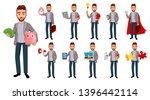 handsome confident business man ... | Shutterstock .eps vector #1396442114