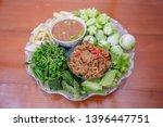 Stock photo fried mackerel with shrimp paste sauce and scald vegetable nam prik kapi pla too thai food 1396447751