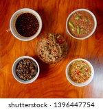Stock photo fried mackerel with shrimp paste sauce and scald vegetable nam prik kapi pla too thai food 1396447754