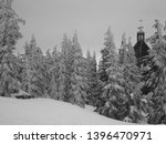 forest with spire and snow... | Shutterstock . vector #1396470971