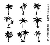 palm trees black silhouettes... | Shutterstock .eps vector #1396481117