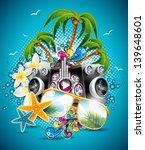 vector summer beach party flyer ... | Shutterstock .eps vector #139648601