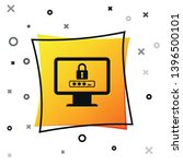 black monitor with password... | Shutterstock .eps vector #1396500101