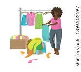 donated boxes clothes. women... | Shutterstock .eps vector #1396502597