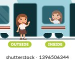 little girl on the train and... | Shutterstock .eps vector #1396506344
