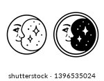 crescent moon with face and... | Shutterstock .eps vector #1396535024