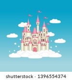 princess castle with pink flags ... | Shutterstock .eps vector #1396554374