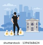 thief steal ingmoney bags from... | Shutterstock .eps vector #1396568624