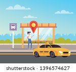 woman calling taxi and waiting. ... | Shutterstock .eps vector #1396574627