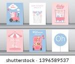 set of baby shower invitation...   Shutterstock .eps vector #1396589537