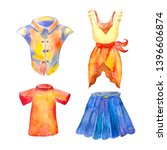 set clothes for women and girls ... | Shutterstock . vector #1396606874