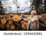 portrait of young girl throwing ... | Shutterstock . vector #1396632881