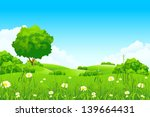 green landscape with  trees and ... | Shutterstock . vector #139664431