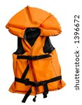 Orange life jacket isolated small water sports outfit for children on white background - stock photo