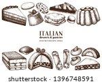 italian desserts  pastries ... | Shutterstock .eps vector #1396748591