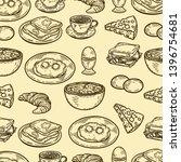 vector hand drawn seamless... | Shutterstock .eps vector #1396754681
